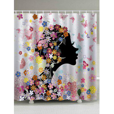 Butterfly Floral Girl Print Waterproof Fabric Bathroom Shower Curtain