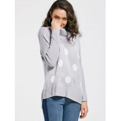 Polka Dot Funnel Neck Sweater