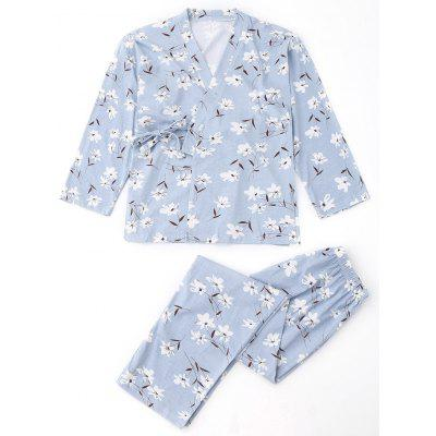 Buy LIGHT BLUE S Floral Wrap Kimono and Pants Pajamas for $29.55 in GearBest store