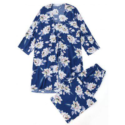 Buy BLUE S Floral Three Piece Pajamas for $30.81 in GearBest store