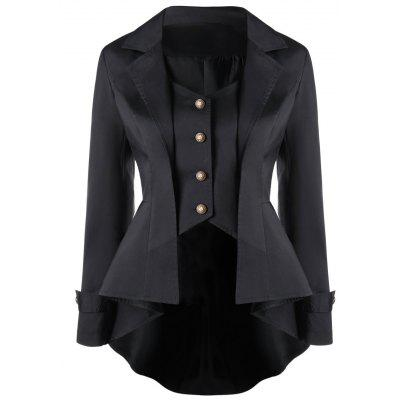 Button Up Notched Collar High Low Coat victoria charles gothic art