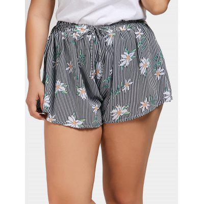 Short Rayé Floral Grande Taille