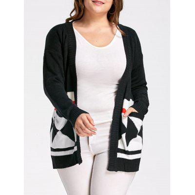 Plus Size Argyle Geometric Cardigan with Pockets