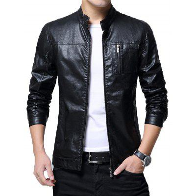 Buy BLACK 2XL Zip Up Chest Pocket Faux Leather Jacket for $52.99 in GearBest store