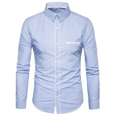 Buy Turndown Collar Stripe Placket Edging Shirt LIGHT BLUE M Apparel > Men's Clothing > Men's Shirts for $14.90 in GearBest store