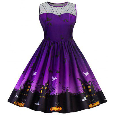 Halloween Lace Panel Plus Size Dress