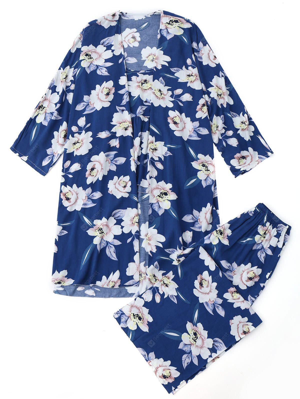 BLUE S Floral Three Piece Pajamas