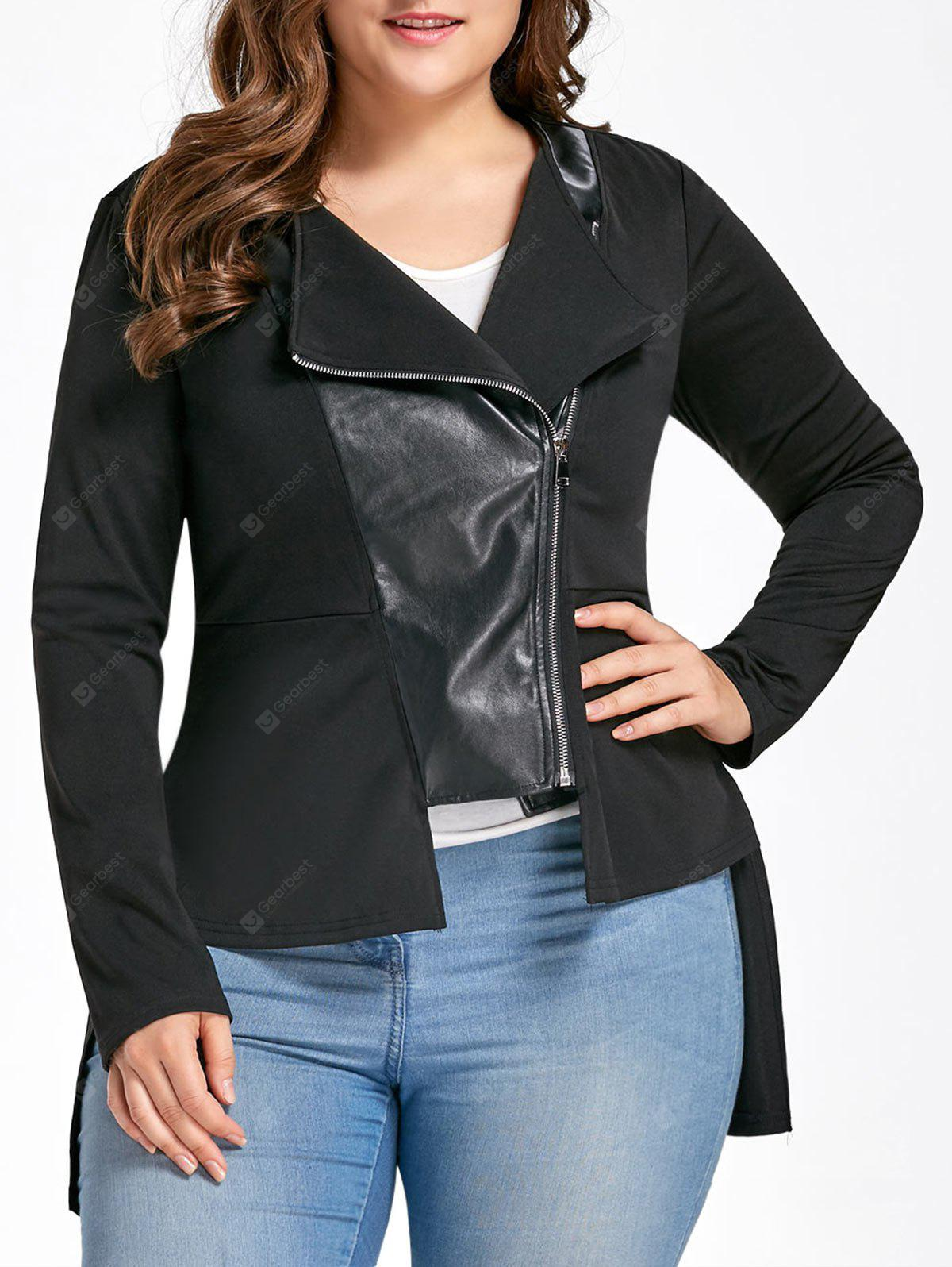Plus Size High Low PU Leather Panel Jacket