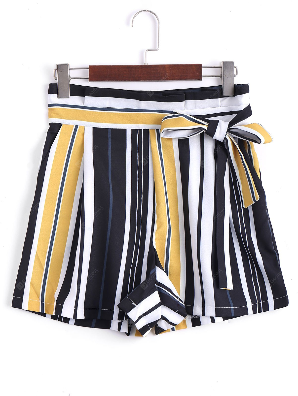 Bowknot Striped High Waisted Shorts