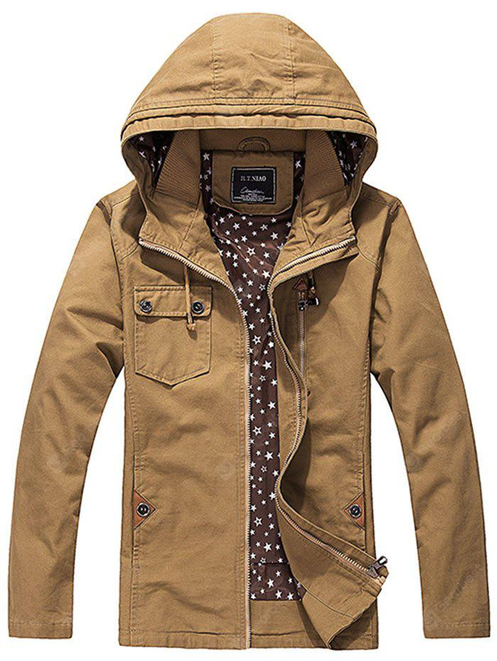 Zip Up Chest Pocket Hooded Jacket