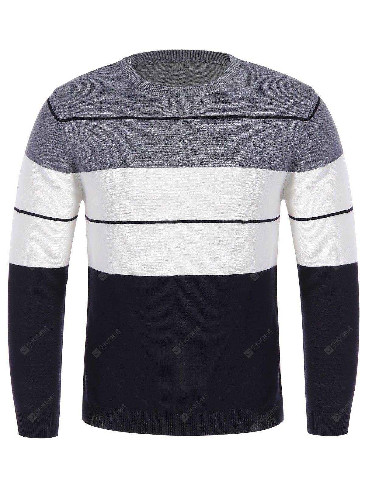Pull Homme Contrastant Ras du Cou