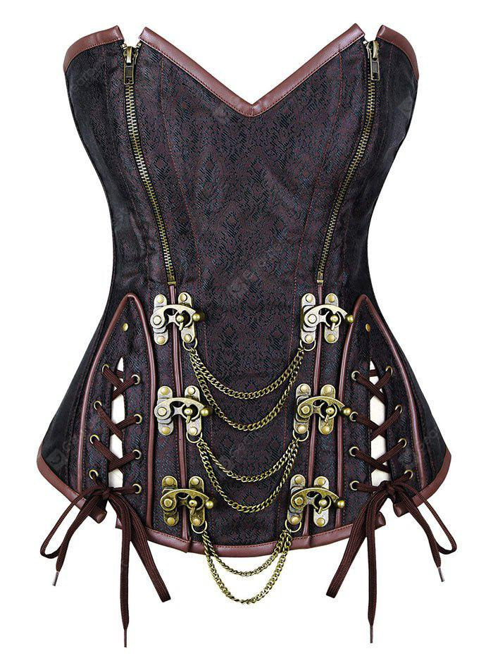 Lace Up Corset Top with Chain