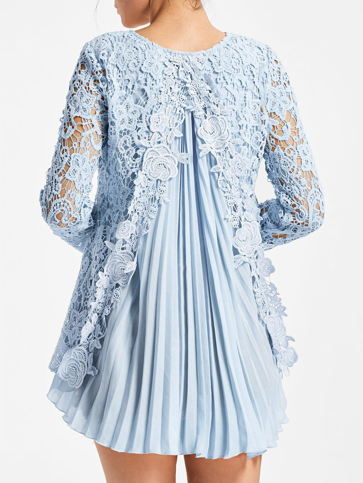 Long Sleeve Pleated High Low Lace Blouse M LIGHT BLUE