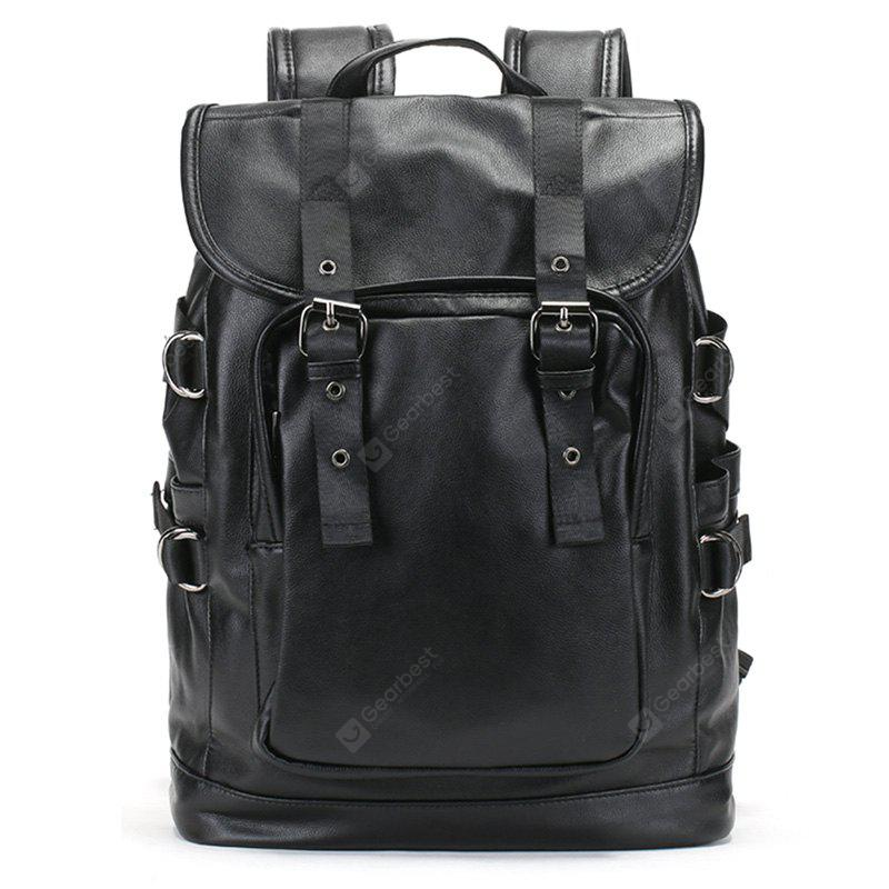 Double Buckle Straps Drawstring PU Leather Backpack BLACK
