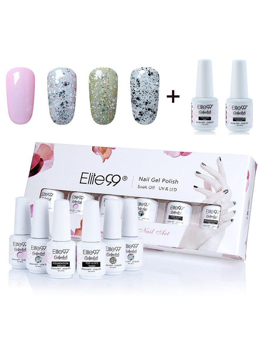 6pcs Polish Uv Led Soak Off Elite99 Gel Nail Set With Sequins 8 54 Free Shipping Gearbest