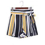 Bowknot Striped High Waisted Shorts - LISTRAS