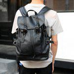 Buy Double Buckle Straps Drawstring PU Leather Backpack BLACK