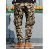 Pockets Beam Feet Camo Cargo Jogger Pants - AMARILLO