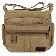 Metal Multi Zippers Canvas Crossbody Bag