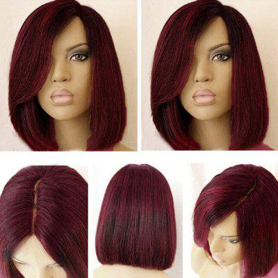 Buy WINE RED Short Side Part Colormix Dark Root Straight Bob Synthetic Wig for $18.61 in GearBest store