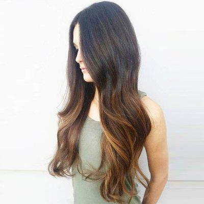 Perruque synthétique Long Half Part Wavy Colormix