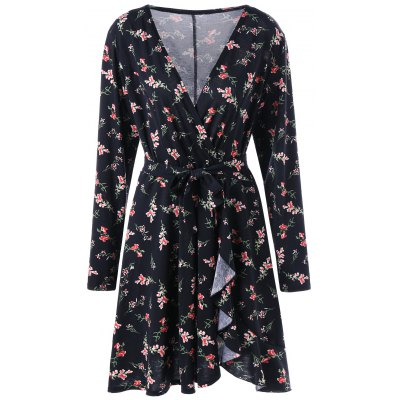Long Sleeve Floral Surplice Wrap Dress