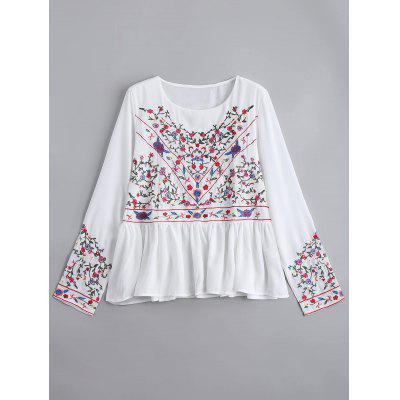 Buy WHITE M Floral Embroidered Ruffles Chiffon Blouse for $28.44 in GearBest store