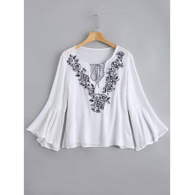 Embroidery Tassels Flare Sleeve Blouse