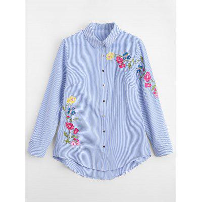 Striped Embroidered Loose Shirt