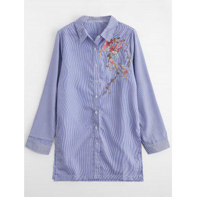 Loose Stripes Floral Embroidered Shirt