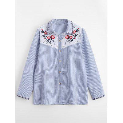 Sheer Floral Embroidered Striped Shirt