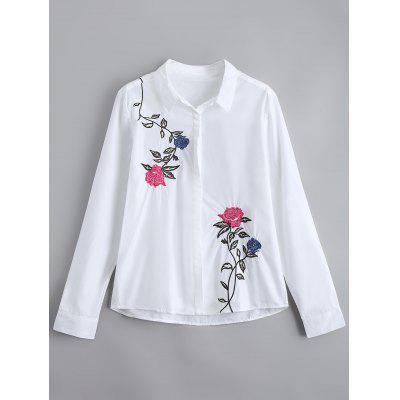 Floral Embroidery Button Down Loose Shirt
