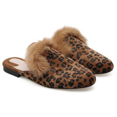 Round Toe Leopard Mules Shoes
