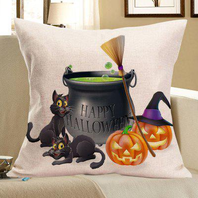 Buy COLORFUL Halloween Pumpkins Cats Happy Party Printed Pillow Case for $4.42 in GearBest store