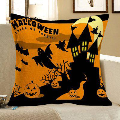 Buy COLORFUL Halloween Castle Pumpkins Bats Patterned Pillow Case for $4.42 in GearBest store