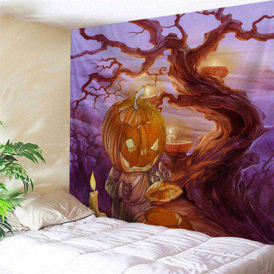 Buy PURPLE Wall Hanging Pumpkin Candle Halloween Tapestry for $13.92 in GearBest store