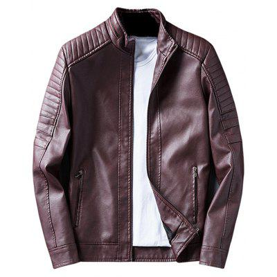 Buy DARK RED Zip Up Padded Design Faux Leather Jacket for $57.27 in GearBest store