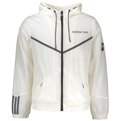 Buy WHITE Badge Patched Stripe Graphic Windbreaker for $37.40 in GearBest store