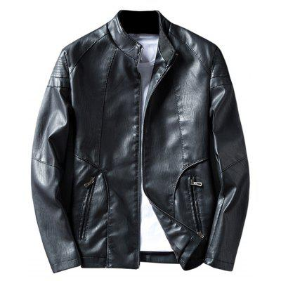 Buy BLACK Casual Zip Pocket Faux Leather Jacket for $52.26 in GearBest store