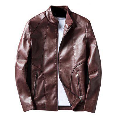 Buy WINE RED Casual Zip Pocket Faux Leather Jacket for $52.26 in GearBest store