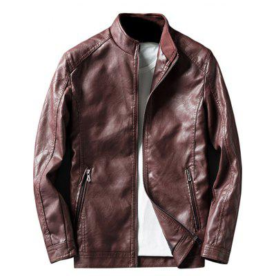 Buy DARK RED Rhombus Pattern Zip Up Faux Leather Jacket for $52.26 in GearBest store