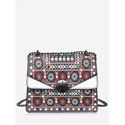 Buy WHITE Tribal Print Chain PU Leather Crossbody Bag for $23.11 in GearBest store