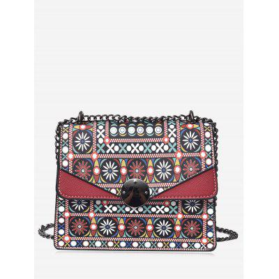 Buy RED Tribal Print Chain PU Leather Crossbody Bag for $23.11 in GearBest store