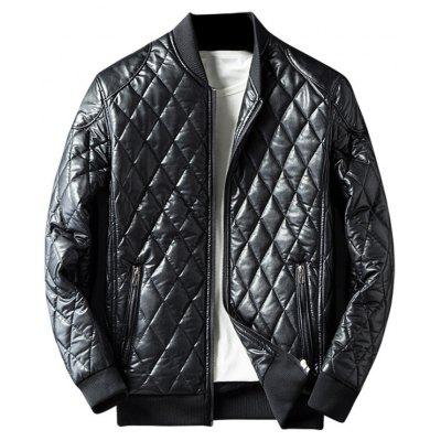 Buy BLACK Zip Up Diamond Faux Leather Jacket for $54.13 in GearBest store
