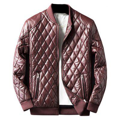 Buy DARK RED Zip Up Diamond Faux Leather Jacket for $54.13 in GearBest store