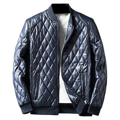 Buy DEEP BLUE Zip Up Diamond Faux Leather Jacket for $54.13 in GearBest store