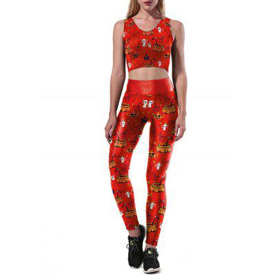 Buy RED Pumpkin Ghost Halloween Two Piece Leggings Set for $21.34 in GearBest store