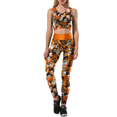 Skulls Ghost Halloween Leggings de dos piezas Set