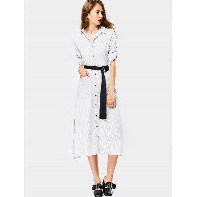 Buy STRIPE L Button Up Striped Slit Dress with Belt for $28.44 in GearBest store