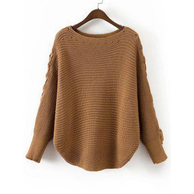 Lace Up Batwing Sleeve Loose Sweater 225992501